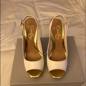Jessica Simpson White & Gold High Heels